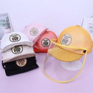 Primavera e Verão infantil Cap Proteção 5-24 Mês Deconstructable respirável Grade Brim Hat Baby Anti-gota de saliva Hat j31q #