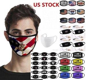 DHL SHIP! Je ne peux pas respirer Trump Mask Cotton Matter noir pour Lives Drapeau Faire du vélo écran facial anti poussière Masque visage Masque réutilisable en tissu