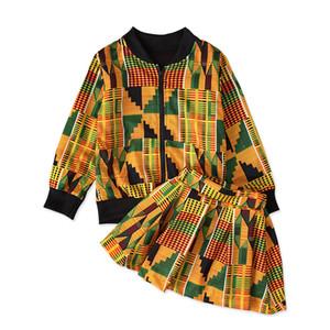 INS Bohemia girls suits fashion kids outfits kids clothes girls long sleeve jacket+ skirts 2pcs set kids clothing B440