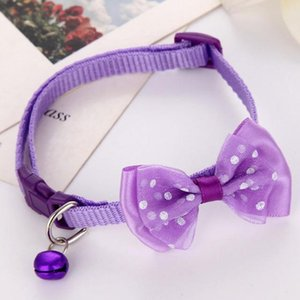 20pcs lot Puppy Fashion Adjustable Cute Necktie Dog Cat Pet Collar Nylon Bell Kitten Candy Color Bow Tie Bowknot Likesome