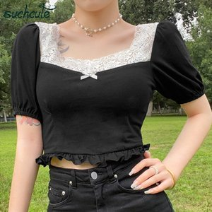 SUCHCUTE pescoço quadrado T-shirt das mulheres arco estética Y2K encabeça E-girl do vintage dos anos 90 do verão do T fêmea hem tee dollskilling
