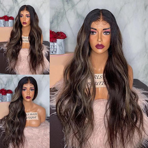 26 Inches Long Wavy Highlight Full Lace Human Hair Wigs with Baby Hair 150Density Pre Plucked 360 Lace Frontal Wigs Bleached Knot