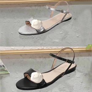 mulheres de couro preto retro fivela de metal Marmont embelezado moda dedo aberto des sandálias Sandallias hardware decoração planas sapatos de verão