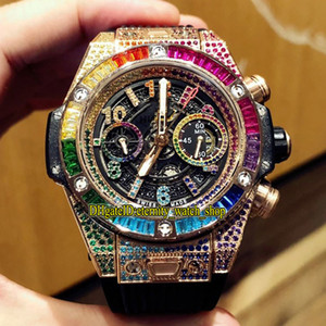high-end version 411 Rainbow Diamonds Bezel Flyback Chrono 1242 Chronograph Automatic Mens Watch Iced Out Diamond inlay Case 0999 Watches