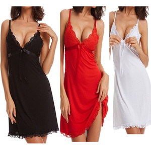 Sexy Backless Suspender V-neck Skirt Womens Fashion Sexy Lingerie Pure Color Lace Pajamas INS Hot Sexy Pajamas