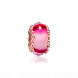 2019 Original 925 Sterling Silver Jewelry Rose Pink Murano Glass & Leaves Charm Fits European Pandora Bracelets Necklace for Women