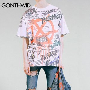 GONTHWID Graffiti Anarchy Symbol T-shirt punk gotica Simbolo Segno stampato magliette degli uomini 2020 Estate di Hip Hop manica corta Streetwear T200713