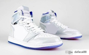 New Authentic Air OG 1 High Zoom R2T Racer Blue Retro Men Basketball Shoes Nylon White Grey Purple CK6637-104 Sneakers With Original Box