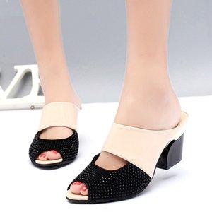 Karinluna 2019 Mulher Sandals Flip Flops Salto Alto Cristal Verão Sandals Calçados Femininos partido Mulher Data Chinelos