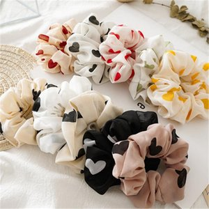 Colorful heart print Hair Scrunchies Women Accessories Hair Bands Ties Ponytail Holder Rubber Rope Decoration Wholesale