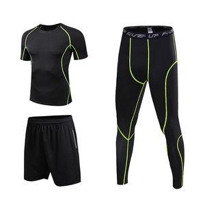 Men Compression Sports Set 3er-Pack mit Compression T-Shirt mit locker sitzenden Shorts festen Gamaschen-Hosen für Radfahren Laufen Yoga