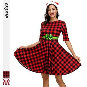 Women's 2019 new digital printing Christmas Plaid waist slim middle sleeve dress mid-long