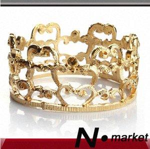 100pcs all'ingrosso Imperial Crown Anelli di tovagliolo per la festa di nozze d'oro rotonda d'argento tovagliolo titolare Tmm0 #