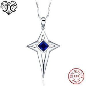 J.C Female Cross DesignBlack & Sapphire Blue Topaz Solid 925 Sterling Silver Necklace Fine Jewelry for Women Anniversary Pendant