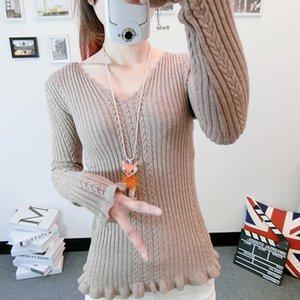 Zoki colmenas de las mujeres suéter suéter elegante de punto de manga larga atractiva del cuello en V otoño delgado puente casual Corea básico tapa de las señoras