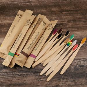 10 الألوان رئيس الخيزران فرشاة الأسنان بالجملة البيئة خشبي قوس قزح الخيزران فرشاة الأسنان عن طريق الفم العناية لينة الشعر الخشن WCW961