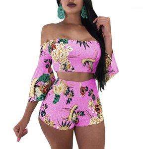Shorts 2pcs Suit Slim Fit Sports Clothing Sets Women Designer Floral Tracksuits Slash Neck Tops High Waist