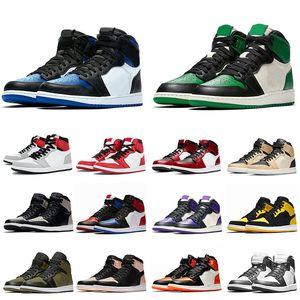 Горячий продавать OG Royal Toe Pine Green 1 Мужская женская баскетбольная обувь 1S Light дымковый Чикаго Jumpman мужские тренеры моды спортивные кроссовки