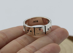 High quality 925 sterling silverJapanese-Korean fashion brand ring silver lovers men British-style fashion brand silver ring