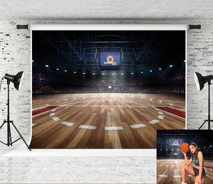 Сон 7x5ft Баскетбольное Фон фотографии Night Light Wood Floor Фон для спорта Тема партии Backdrop Photo Shoot Студия Prop