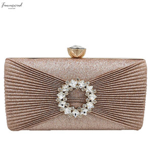 Ruched Amp; Crystal Women Day Clutches Handbags Ladies Metal Evening Fashion Bags Party Cocktail Shoulder Bag