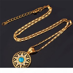 Fashion Colorful Rhinestone 18K Real Gold Plated Sun Star Pattern Pendant Earrings Jewelry Set Wholesale Free Shipping