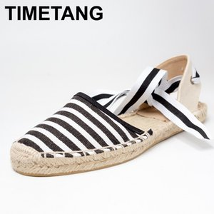 TIMETANG Canvas Espadrille Women Flats Ankle Strap Hemp Bottom Fisherman Shoes For Spring Autumn Women Loafers #CH819 CX200722