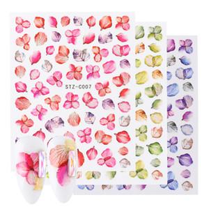 Flor real Nail Art Stickers 3D Adhesive decalques Folha borboleta Maple Nail design colorido decoração Wraps CHSTZ-C01-11