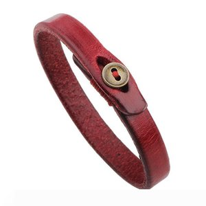 Simple Black Red Leather Bracelets Little Button Charm Bangle Cuff Wrist Bands for Women Fashion Jewelry