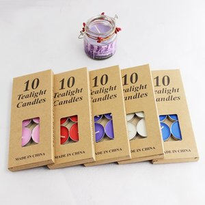 10PC Set Scented Candles With Kraft Box Smokeless Aroma Scented Tea Wax Home Wedding Party Christmas Round Candles Decoration GGA3111-2