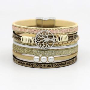 Gioielli Bracciali mucchio di fascino VONNOR per le donne a più strati di cuoio della corda strass lega Accessori del catenaccio del magnete braccialetto Bracele ...