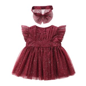 baby Girls clothes for princess party birthday summer puff sleeve sequined girls dress with hairband Kids Clothes 0-2T red T200709