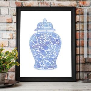 Çin Zencefil Kavanoz Wall Art Resim Poster Hampton Stil Dekor Boyama Mavi ve Beyaz Chinoiserie Waterolor Tuval Art Print