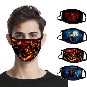 Máscaras de Halloween del partido adulto de la manera calabaza araña 3D impresos algodón de la mascarilla anti polvo reutilizable lavable festivo de la Navidad boca cubierta