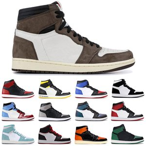 Cheap Travis mens Scott 1 Jumpman 1s uomini donne scarpe da basket ossidiana Toe UNC Nero Turbo Verde formatori esterni sport sneakers 36-47
