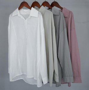 Toppies women white cotton shirts long sleeve boyfriend shirts summer tops solid color oversized blouses CX200709