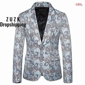 ZUZK Мужской Blazer куртка Slim Fit черного Paisley мужчины костюм куртка осень Новой однобортный Blazer Мужчины выпускной вечер венчание Hombre
