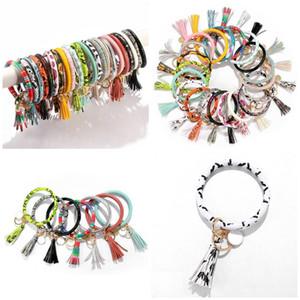 21 estilos de bracelete de couro pu criativo chaveiro pedaço redondo pingente pulseira de couro mulheres DHB452