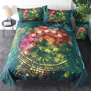3 Piece Boho Style Lotus Flower Print Quilt Covers Sets Single Double Queen King Size Bedding Sheets Twin Full Duvet Cover Shams