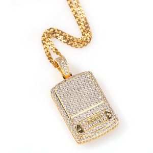18K Gold Plated Digital Scale Pendant Necklace Iced Out Full Zircon with Rope Chain Mens Hip Hop Jewelry Gift