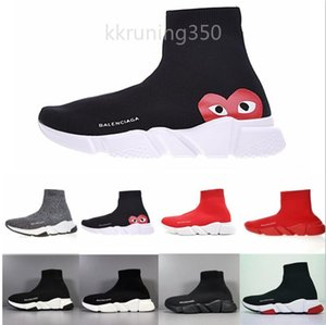 Luxury Sock Shoe Speed Knitted Trainers Casual Sneakers Speed Trainer Sock Race Fashion Black Shoes Men Women Sports Shoes All RED YF99G