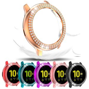 Double-rows Glitter Diamond Luxury Case for Samsung Galaxy Watch Active2 40mm44mm Thin Shell Protective Frame Anti-scratch Cover