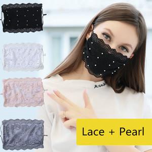 DHL 3-5 gün Ultrasoft Yaz Yüz Dantel İnci Ağız Maskeleri Kamuflaj earloop Maske Anti-Dust Yüz Kadın için Maske Yazdır maskesi