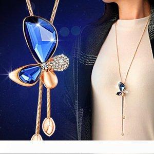 New Hot Ladies Fashion charm Rose Gold Crystal Rhinestone cute Butterfly Pendant Necklace Sweater Chain Women Elegant Fine Jewelry Wedding