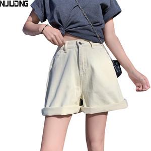 NIJIUDING New Women Summer Demin Shorts Belt High Waist Casual Wide Leg Hot Shorts 2020 Korean Jeans Feminino Zipper Bottoms