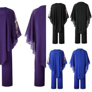 Popular Cloak roupas roupas Corpo chiffon capa com lantejoulas macacão pendulares grande terno tamanho de duas peças