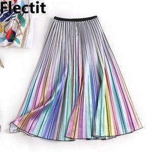 Flectit 2019 Harajuku Metallic Silver Multicolor Rainbow Stripe Printed Skirt Elastic Waist Pleated Skirt For Women Young Girl * T200712