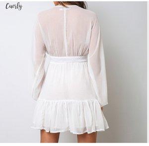 Sexy Plunge V Neck Womens Autumn Dress White Lace Long Sleeve Mini Party Dress 2020 Ruffle Elegant Winter Clothing