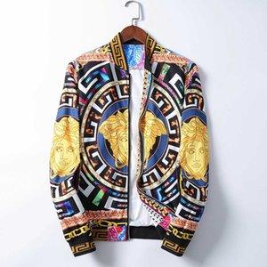 Men Windproof Jackets Long Sleeve Zipper Jacket Fashion Pattern Print Slim Fit Windbreaker Mens Antumn Winter Outdoorwear Coats