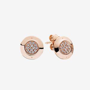 Розовое золото покрыла серьгу стержня ювелирных изделий Женщины Девушка моды с оригинальным набором коробки для Pandora 925 Серебра CZ бриллиантов Disc сережки
